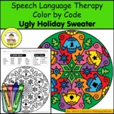 Ugly Holiday Sweater Speech Therapy Color By Code Grab and Go Activity