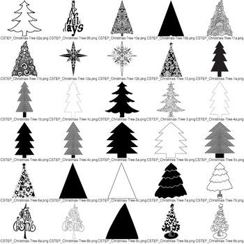 Christmas Tree Clip Art, Christmas Tree Digital Stamps