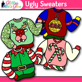 Ugly Sweater Clip Art {Christmas Clothes Featuring Santa, Rudolph, & Elves}