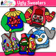 Ugly Sweater Clip Art {Christmas Clothes Featuring Santa,