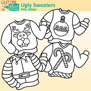 Ugly Sweater Clip Art {Christmas Clothes Featuring Santa, Rudolph, & Elves} B&W