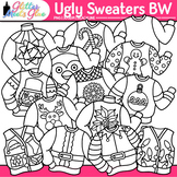 Ugly Sweater Clip Art B&W | Christmas Clipart for Teachers