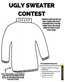 Ugly Sweater Contest Handout (Vocabulary review)