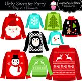 Ugly Sweater Digital Clip Art Set  Commercial Use Illustrations