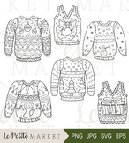 Ugly Sweater Holiday Party Clip Art Illustration, Line Clip Art Holiday Vector