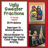 Ugly Sweater Improper Mixed Numbers Color Math Activity