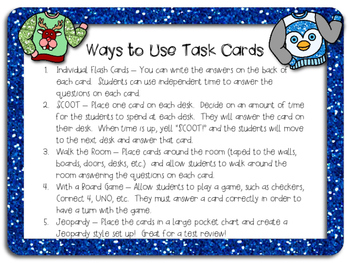 Math Review Task Cards - Ugly Christmas Sweaters