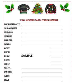 photograph about Holiday Word Scramble Printable titled Unappealing Sweater Social gathering Xmas Phrase Scramble Recreation- Trip Enjoyment! Printable