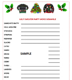 Ugly Sweater Party Christmas Word Scramble Game- Holiday F