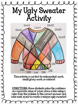 Ugly Sweater Two by Two Multiplication Activity