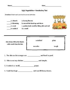 Ugly Vegetables- Comprehension & Vocabulary Test (Journeys)