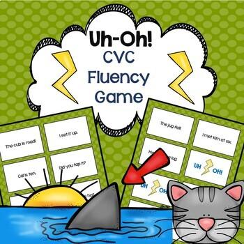 CVC Reading Fluency Game Uh-Oh!