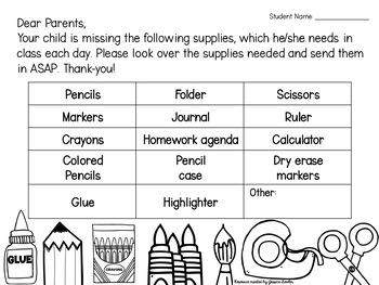 school supplies check list