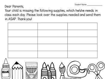 FREE Missing School Supplies Checklist