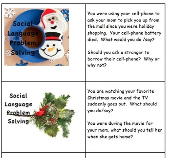 Uh Oh ... Social Pragmatic Problem Solving Scenarios for the Holidays