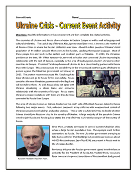 Ukraine Crisis 2014 - Current Events (Reading, Questions, Assignments, Key)
