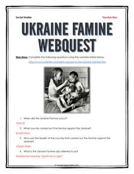 Ukraine Famine (Holodomor) - Webquest with Key