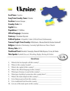 Ukraine Information & Worksheet