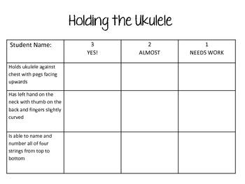 Ukulele Assessment Rubrics