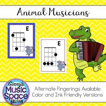 Ukulele Chord Charts Animal Musicians Theme