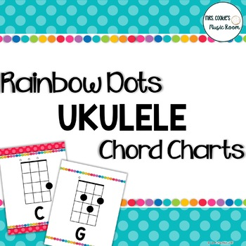 Ukulele Chord Charts Rainbow Dots Theme By Mrs Cookies Music Room