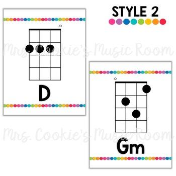 Ukulele Chord Charts: Rainbow Dots Theme