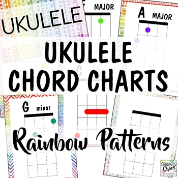 Ukulele Chord Charts Rainbow Patterns Music Room Decor Tpt