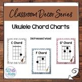 Ukulele Chord Posters: Distressed Wood
