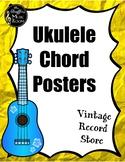 Ukulele Chord Posters {Vintage Record Store} Rainbow Glitter
