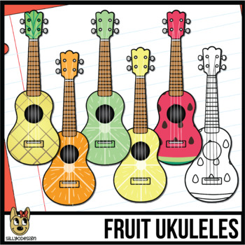 Ukulele Clip Art with Fruit Designs