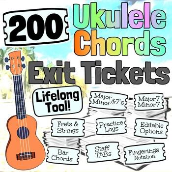 Ukulele Exit Tickets KIT - 90 Music Exit Tickets!