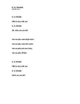 Ukulele Preschool Music Sheet