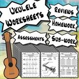 Ukulele Worksheets - Ukulele Tests Quizzes Homework Class Reviews or Sub Work!