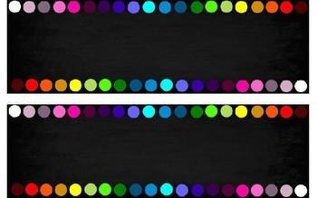 Ultimate 20 Colour/Colour Rainbow Spot Blackboard Theme Labels {Editable}