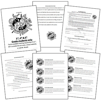 Ultimate 27 Page Art Club/Field Trip Editable Packet Forms