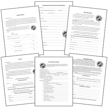 Ultimate 27 Page Art Club/Field Trip Editable Packet Forms Bundle
