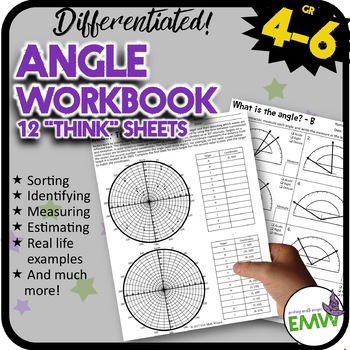Angle Worksheets Workbook for 4 to 6th grade by Evil Math Wizard