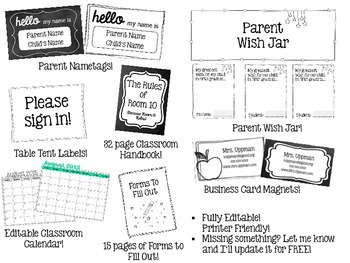 Ultimate Back to School Night / Open House Bundle {Editable}