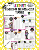 Ultimate Binder for the Organized Teacher - 2015/2016 (50 pages!)