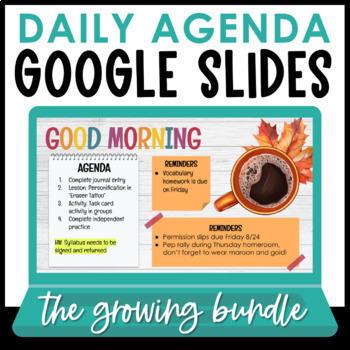 Daily Agenda Google Slides Sets 1 10 Growing Bundle Distance Learning