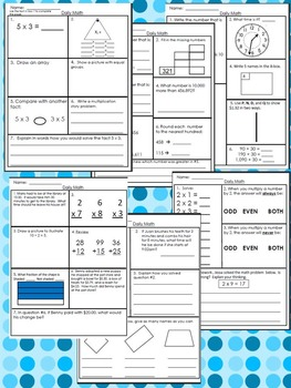 Daily Math Practice Half Year First Bundle: 92 Pages