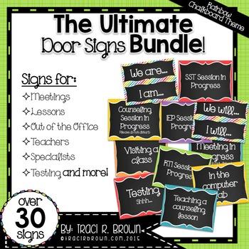 Ultimate Door Signs Bundle 2 – Rainbow Chalkboard Theme