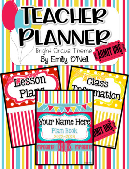 Ultimate Editable Teacher Planner (Bright Circus Theme)