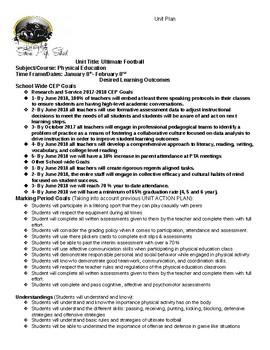 Ultimate Football Unit Plan