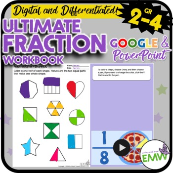 Ultimate Fractions Workbook for 2-4th grade - over 50 work