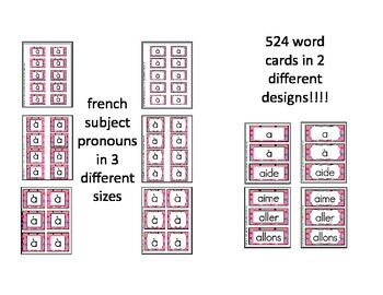 Ultimate French Word Wall Package (Multi Dots Pink Background)