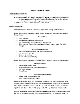 6-12 Grade Ultimate Frisbee Unit Plan