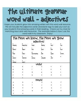 Ultimate Grammar Word Wall - Adjectives - Language Arts - Writing