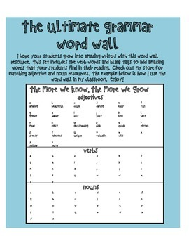 Ultimate Grammar Word Wall - Verbs - Language Arts - Writing