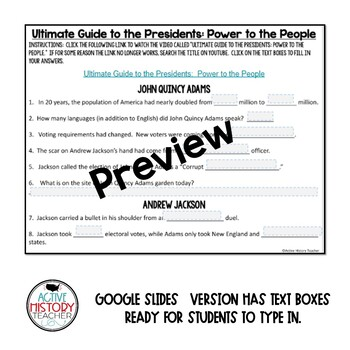 Ultimate Guide to the Presidents Video - Student Worksheet - Power to the People